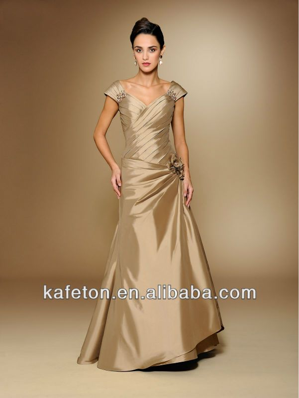 Youthful Mother Of Bride Dresses Shoulder Gold Taffeta Pleated A Line Young Mother Of The Bride Dress Dresses Mothers Dresses Mother Of The Bride Gown