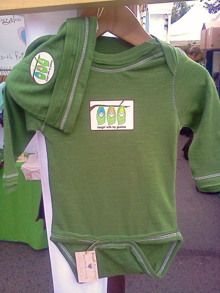 Organic Baby Clothes Organic Onesie Moss Green Garden Gnome