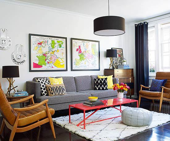 midcentury modern furniture and layers of colorful accessories brought the living room to life