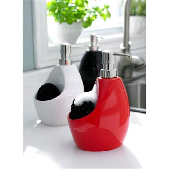 Umbra Joey Pump Scrubby Sponge Holder Ceramic Liquid Soap Dispenser Red Or Black In Home Garden Kitchen Dining Bar Other Items