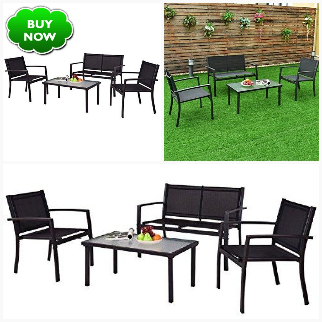 Tangkula Patio Furniture Set 4 Pcs Black With 2 Chairs Tempered