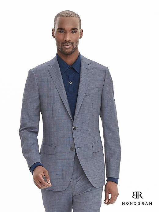 c29f78f3dfe6 BR Monogram Blue Plaid Wool Suit Jacket   Stuff to Buy   Wool suit ...