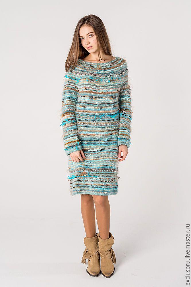 Купить Авторское платье ручной работы ''TENDERNESS OF SPRING'' - бирюзовый, в полоску, теплое платье