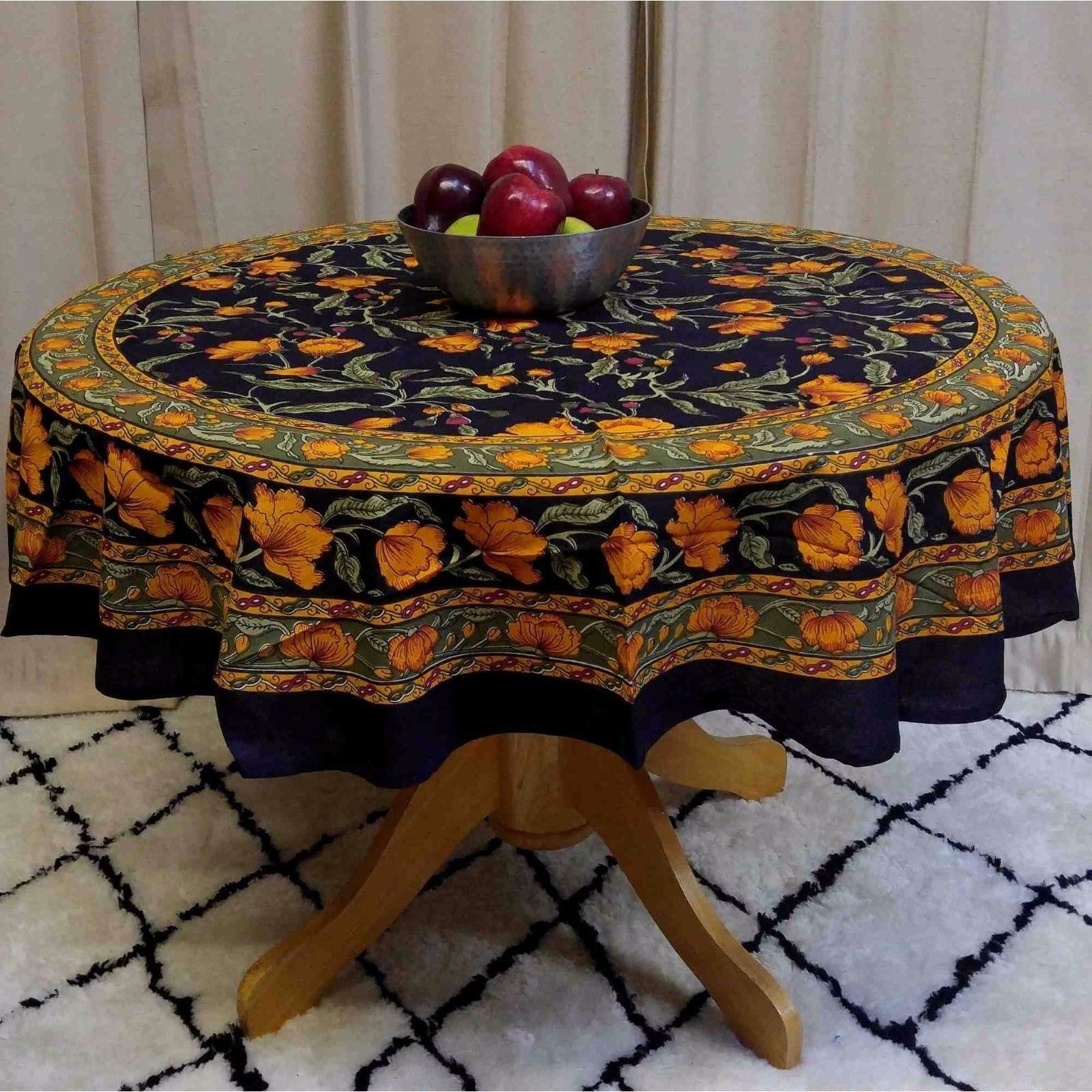 Beautiful Handmade Cotton French Floral Print Tablecloth 60 Inches