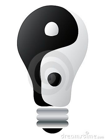 Yin-yang on lightbulb