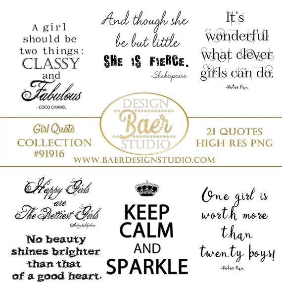 Inspirational Quotes about Girls, Clip Art Quotes, Girl Quotes, Girl Power Quotes, Quotes for Planner Stickers, Girl Digi Stamp #91916 by BaerDesignStudio