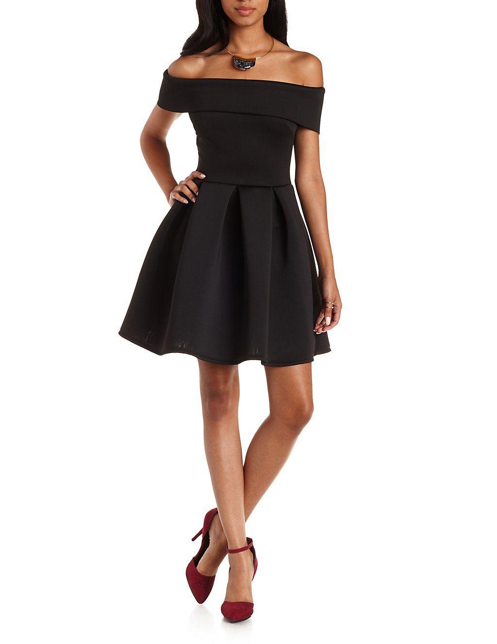 67118dcc817 Off-the-Shoulder Pleated Skater Dress