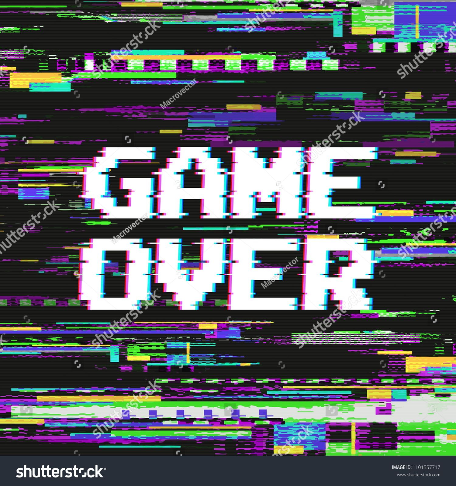 Game Over Text On Video Game Screen With Glitch Effect On Colored Distorted Background Vector Illustration Game Scre Glitch Effect Games Over Text Pixel Design