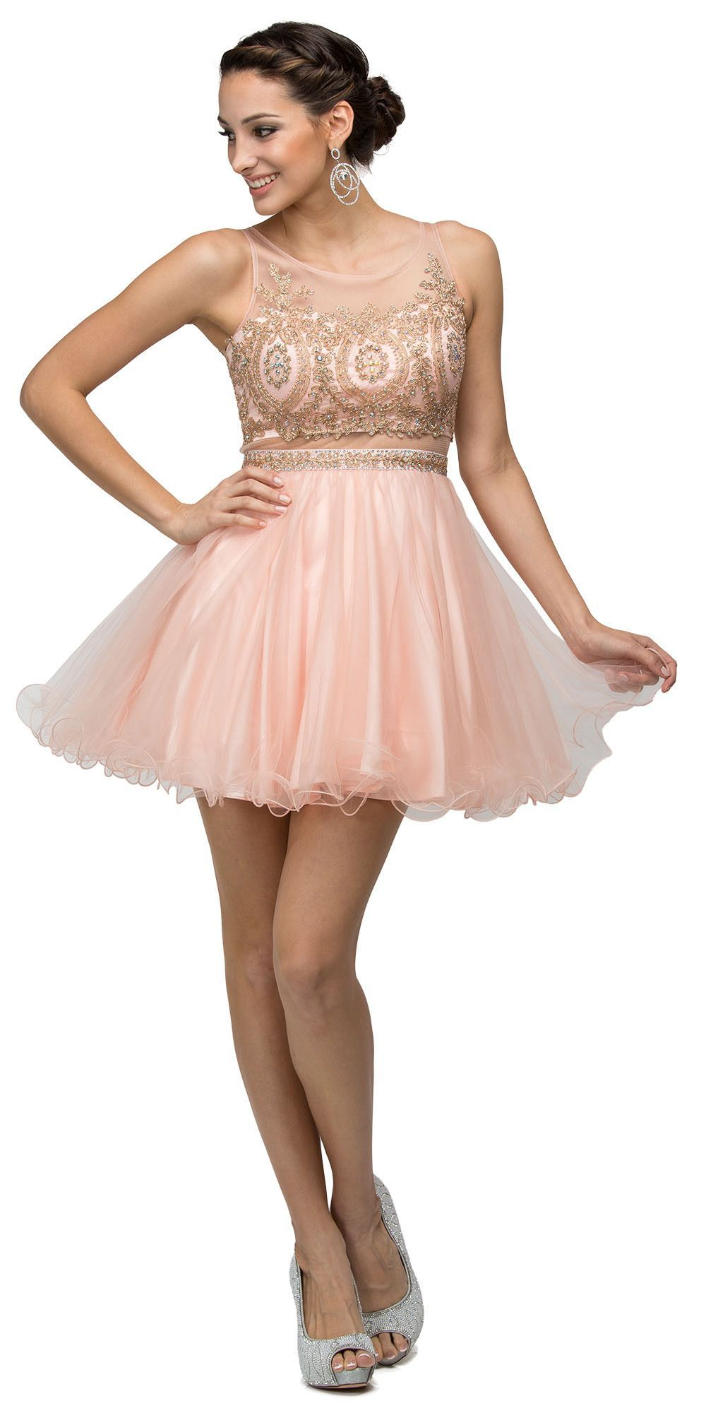 Illusion sweetheart homecoming dress red nude babydoll embroidery