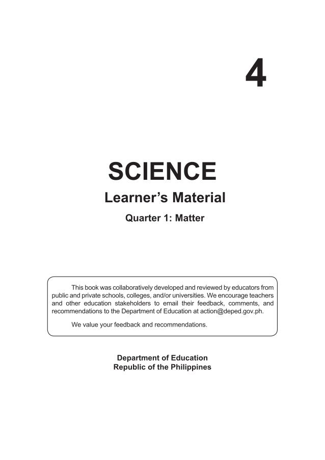 K To 12 Grade 4 Learner S Material In Science Q1 Q4