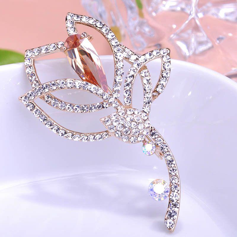 Luxury Wedding Large Flowers CZ Crystal Rhinestone Brooches Hijab Pin Up Scarf Clips Diamante Embellishments Wholesale Lot Coroa