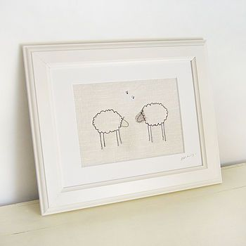 Large Ivory Embroidered Sheep Picture