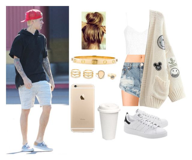 """Day with Justin "" by laurynha ❤ liked on Polyvore featuring Forever 21, adidas Originals, One Teaspoon, Topshop, WithChic, Justin Bieber, LULUS and Cartier"