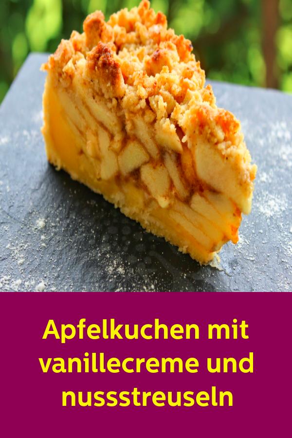 Apfelkuchen mit vanillecreme und nussstreuseln #recettesympa