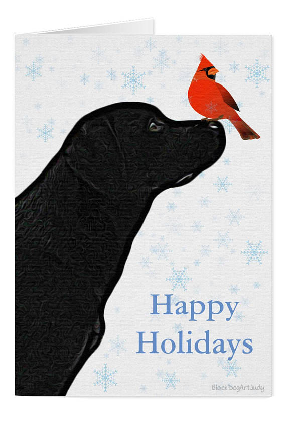 Black Lab Holiday Card B01BLCAR Labrador Christmas Cards | (Group ...