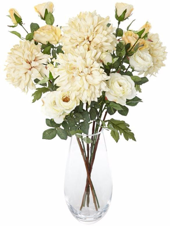 Artificial Flower Arrangement With Roses And Chrysanthemums