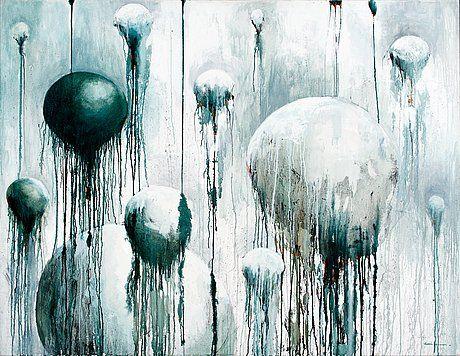 """SAMULI HEIMONEN, """"NOUSEVAT"""". Sign. 2001. Öljy kankaalle 139,5x180 cm."""