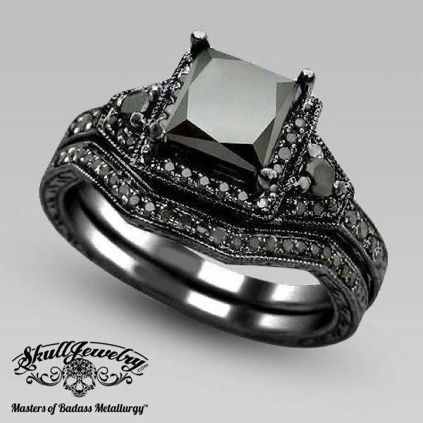 Bellezza Sorriso Black Sapphire Wedding Engagement Ring Black Gold Ring Black Diamond Bridal Set Engagement Rings Bridal Sets