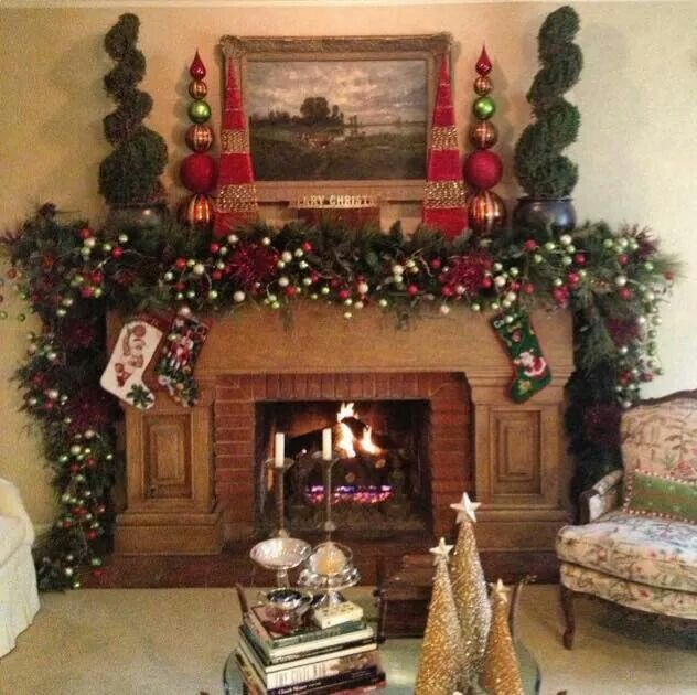 Nice holiday fireplace from Leigh Anne Tuohy