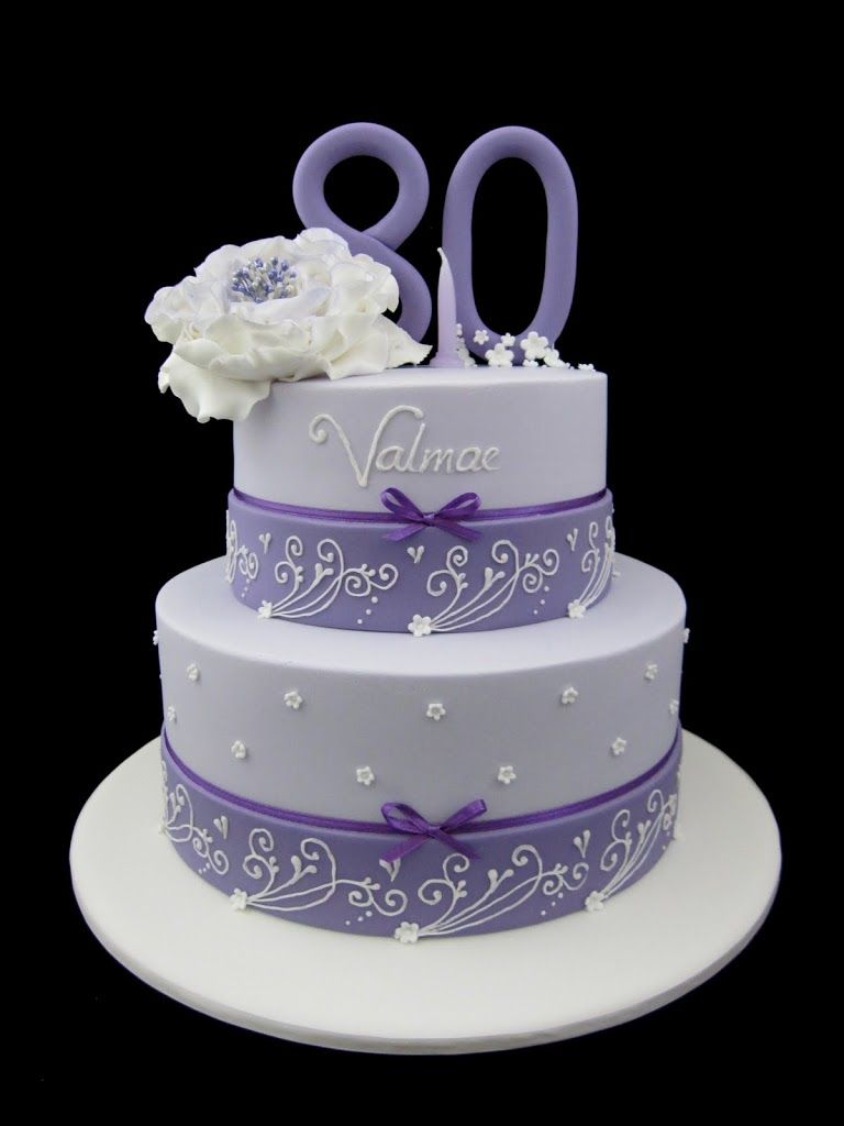 Photo 80th Birthday Cake In Lavender Two Tier Design