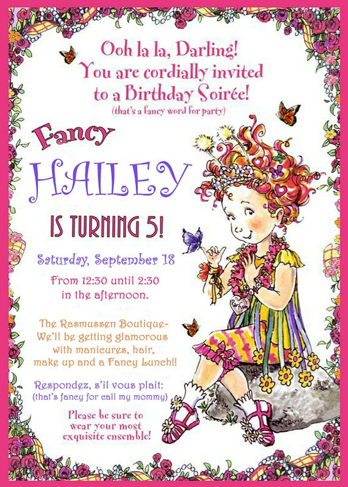 fancy nancy invitation fancy nancy party fancy nancy. Black Bedroom Furniture Sets. Home Design Ideas