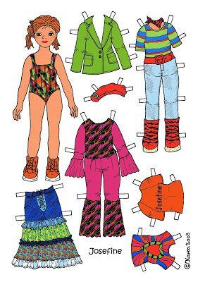Karen`s Paper Dolls: Josefine 1-4 Paper Doll in Colours. Josefine 1-4 påklædningsdukke i farver.