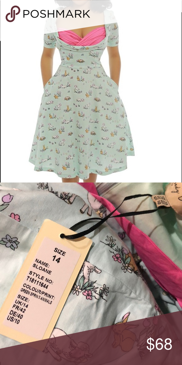 3ce351ef2a75 Lindy Bop Pastel Bunny Easter novelty swing dress Lindy Bop Pastel Bunny  Easter full skirt Novelty swing dress NWT SIZE 14 Green Spring Animals  sloane ...