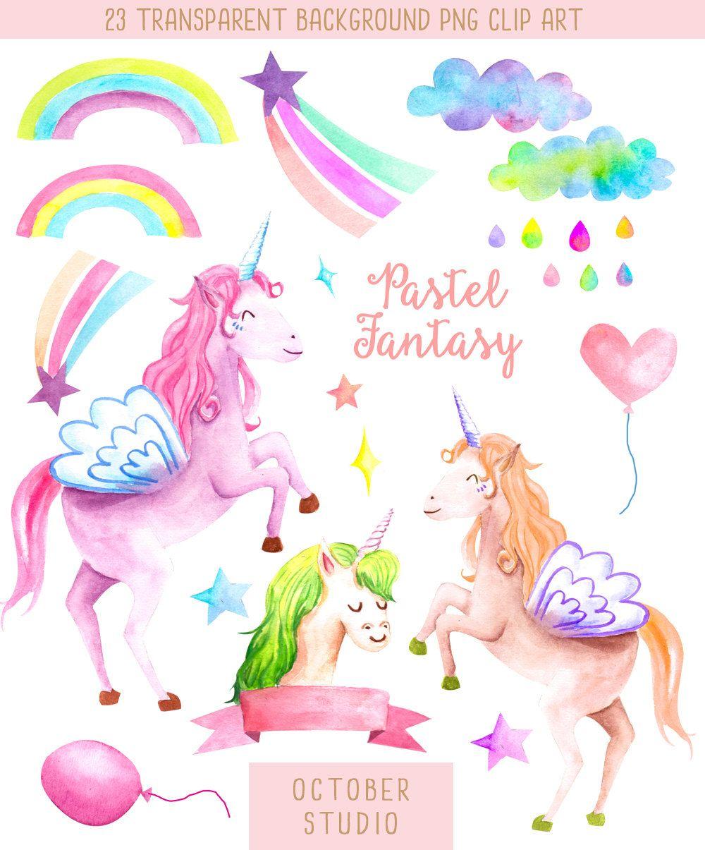Unicorn & Rainbow // Pastel Fantasy Watercolour Hand ...