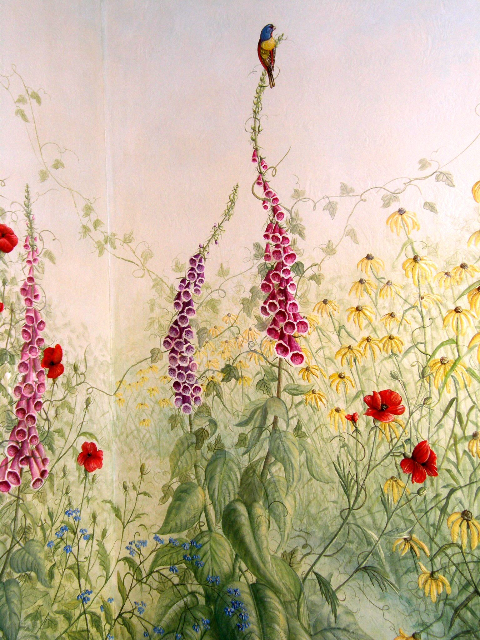 Custom Garden Mural Corner Detail by Curtis L. Heuser. | Murals ...