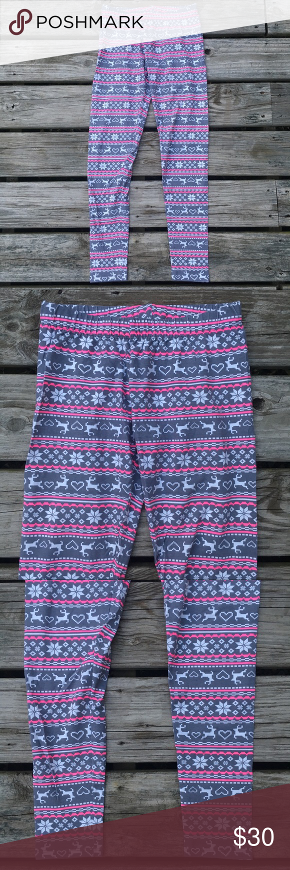 0937beda5601b4 CUTE UGLY SWEATER CHRISTMAS HOLIDAY LEGGINGS PANTS Tags- Gorgeous Gray /  Pink / White