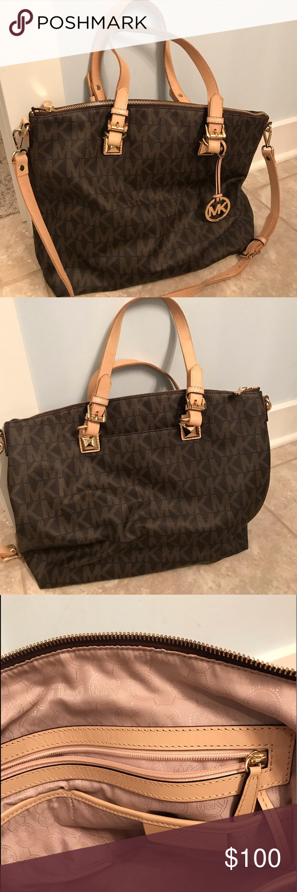 8a0a759fe2f Michael Kors Large Jet Set Tote Authentic bag Handles are not authentic-  had to be