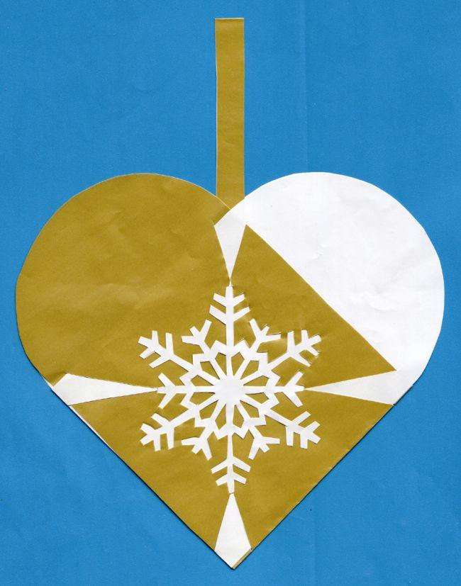 julehjerte med snefnug
