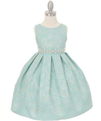 bb73c390f4b Embroidered Jaccard Flower Girl Dress   Pearl Waist