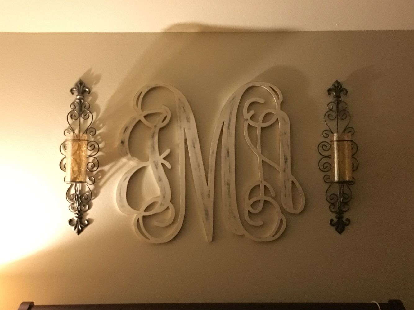 Monogram above bed in master my projects bedding - Master bedroom art above bed ...