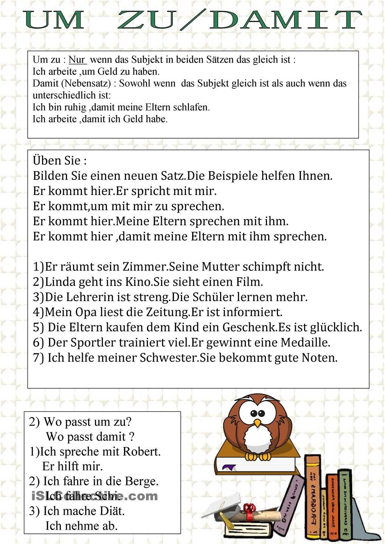 Um zu/Damit | Satz | Pinterest | German, German language and Language