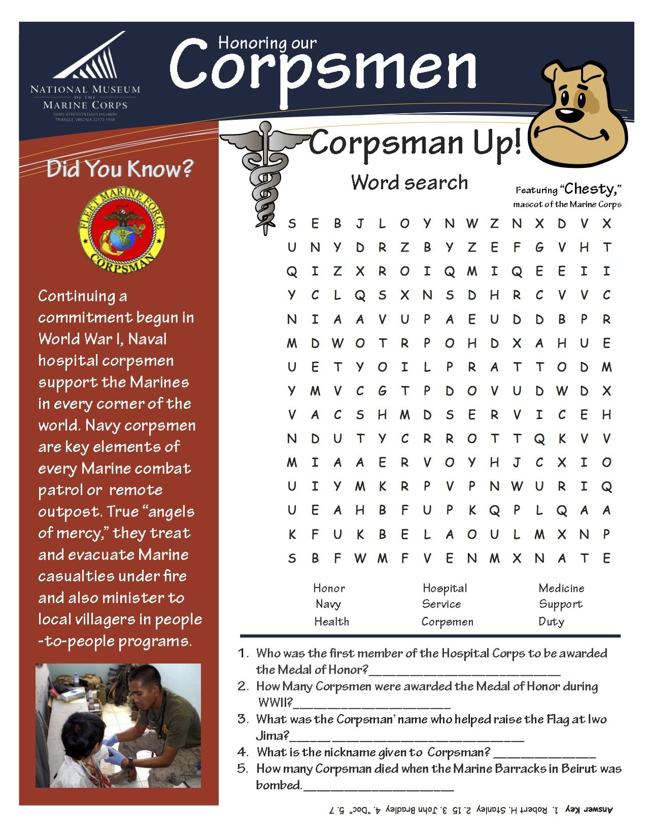 United States Marine Corps Honor Our Corpsman Worksheet
