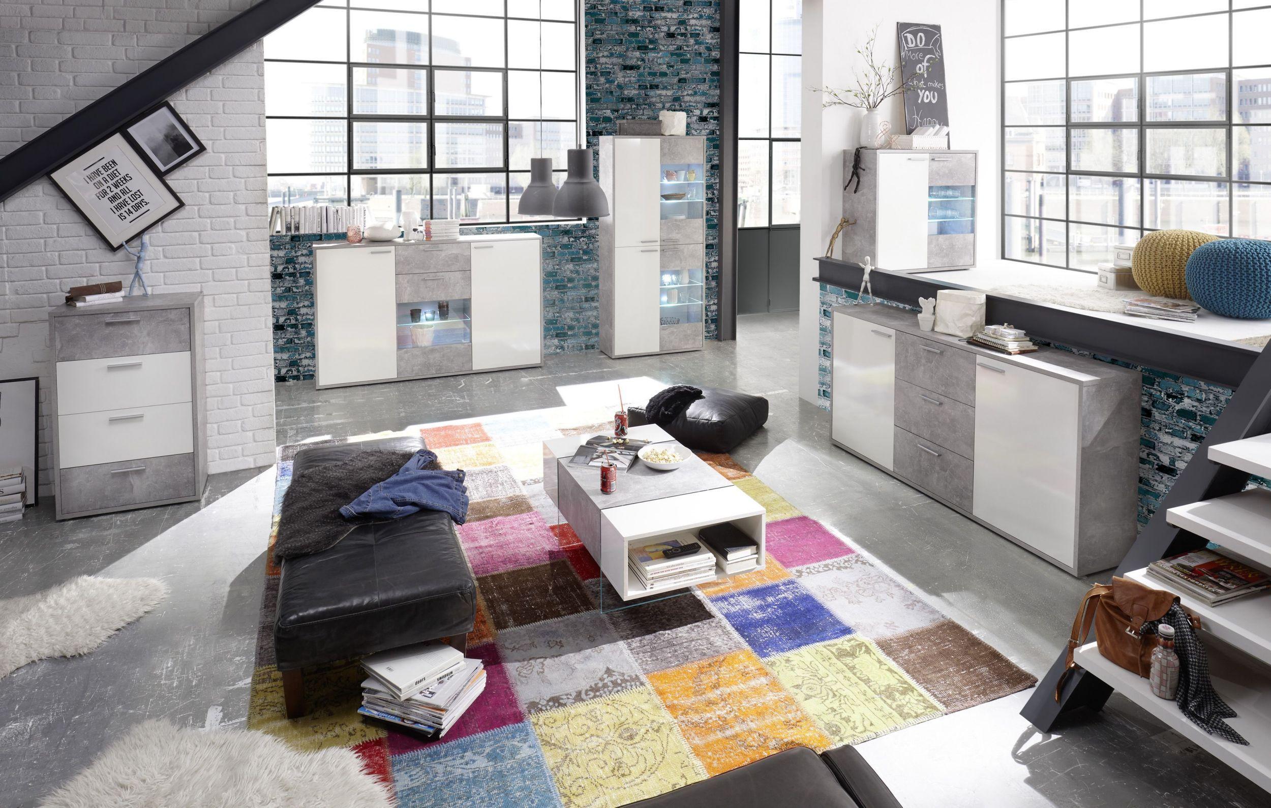 Wohnzimmer Led ~ Wohnzimmer weiss glänzend beton mit led beleuchtung woody
