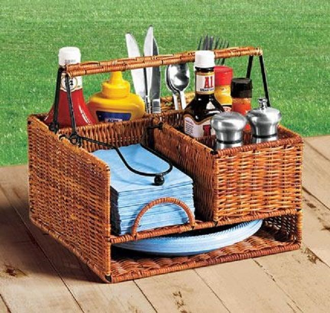 Wicker metal Picnic buffet Caddy Party Holder BBQ Utensil plate fork ...