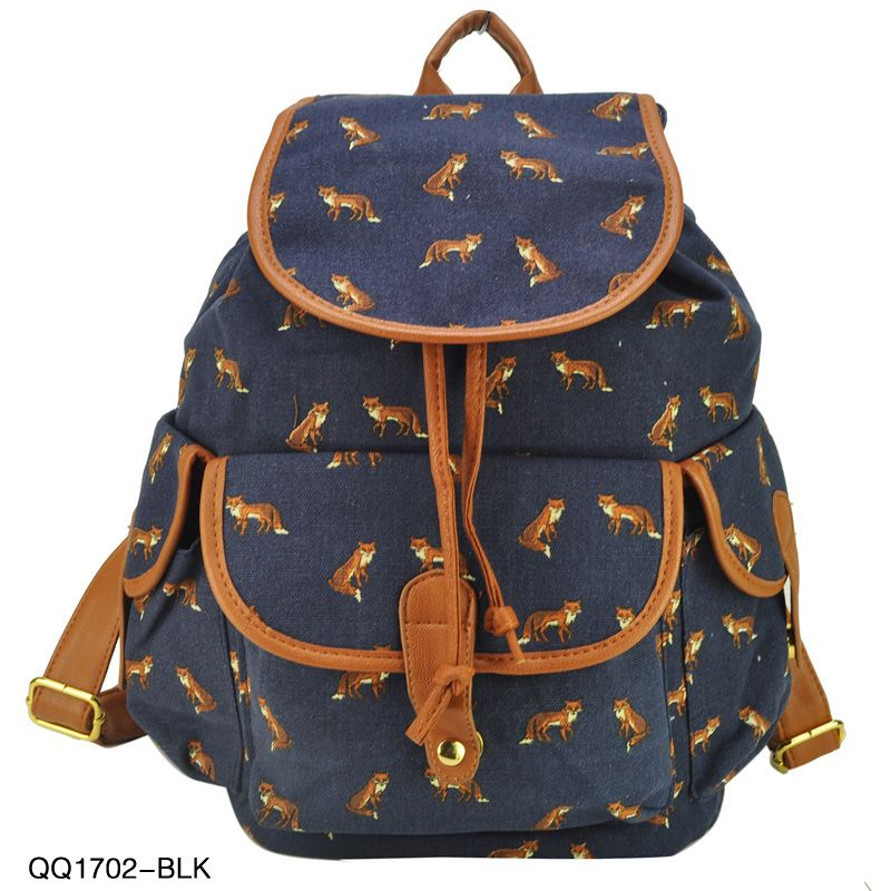 022cdc771a6c New Arrival Animal Fox Print Backpack For Girl Women Leisure Bag ...