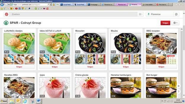 Ook de Spar gebruikt Pinterest goed voor hun communicatie. Het bedrijf post verschillende gerechten of aanbiedingen, én ze doen dit in twee talen voor hun Belgische pagina (Nederlands en Frans), om zo iedereen te kunnen bereiken! url: https://www.pinterest.com/sparbelgium/
