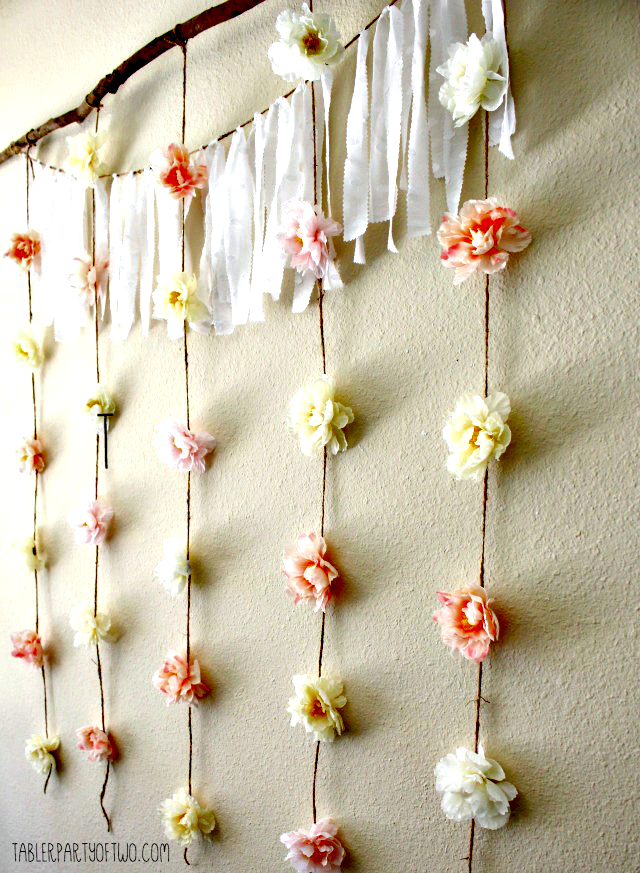 Simple, Whimsical Floral Garland Backdrop Floral garland