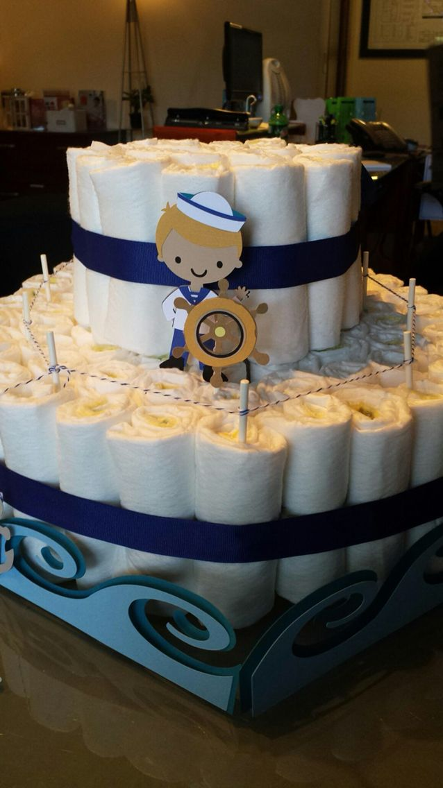 Diaper ship made by Dawn Harrison for Lisa & Todd's Baby Shower!  So cute!⚓️