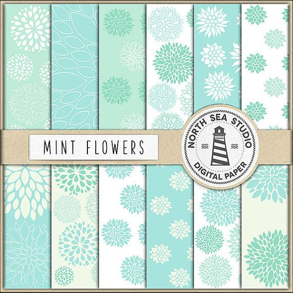 Mint Floral Digital Paper -  http://etsy.me/2cue5SE Mint floral digital paper with dahlia flower patterns. Use these mint floral patterns for invites, birthday party decorations, card making, gift wrapping, printing labels, greeting cards. They're also great as a digital background for a web pages or blog, collages, computer desktop wallpaper and anything else you can come up with.