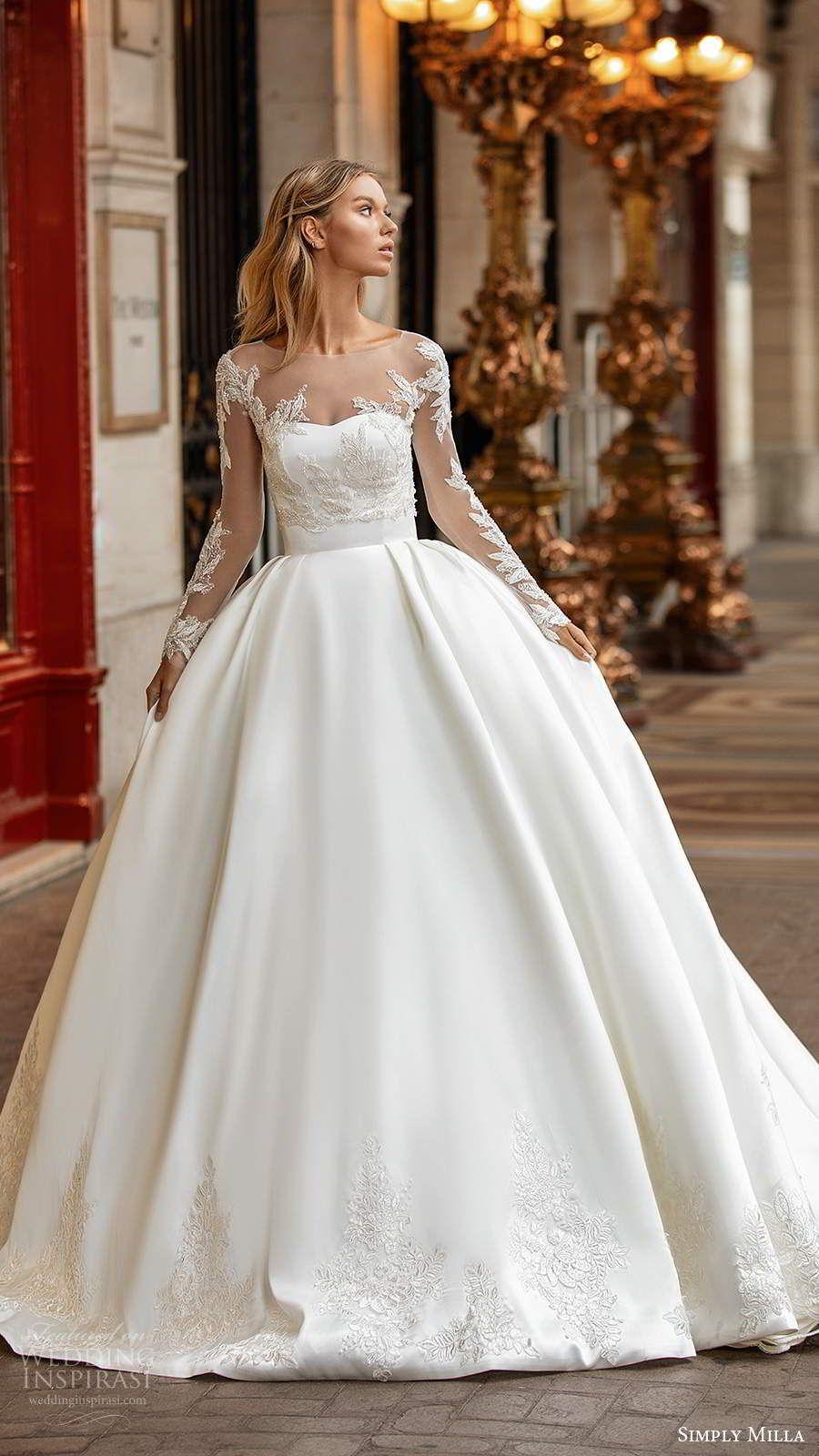 Milla Nova S Simply Milla 2020 Wedding Dresses Wedding Inspirasi Ball Gowns Wedding Wedding Dress Long Sleeve Simple Wedding Gowns [ 1600 x 900 Pixel ]