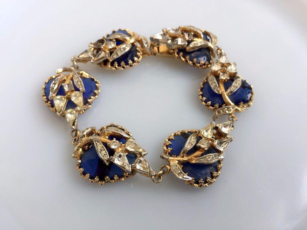 Vintage CHRISTIAN DIOR By KRAMER Bracelet Blue Glass Hearts