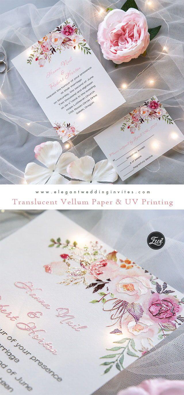 exquisite pink floral uv printing wedding invitations on vellum