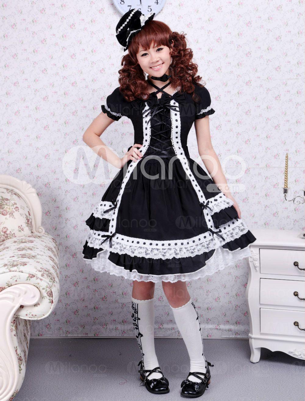 Black lolita onepiece dress short sleevs lace trim lace up lolita