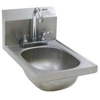 Eagle Group HSAND-10-F Space Saver Hand Sink with Deck Mount Gooseneck Faucet and Basket Drain