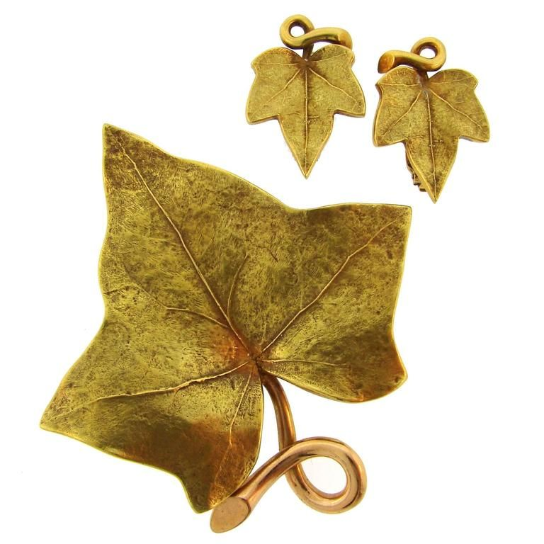 50/'s Gold Leaf  Bow Earring Brooch Set