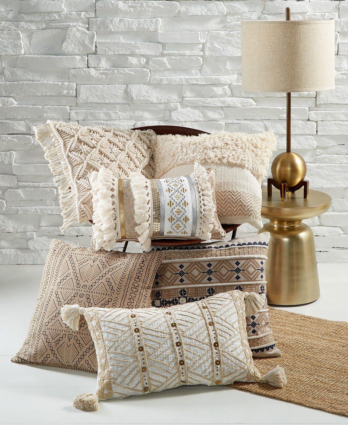 Lacourte Morga Navy Embroidered 20 Square Decorative Pillow